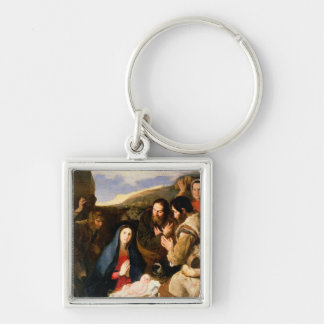 Adoration of the Shepherds, 1650 Silver-Colored Square Keychain