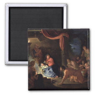 Adoration of the Shepherds, 1689 2 Inch Square Magnet