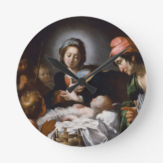 Adoration of the Shepherds 17th Century Round Clock