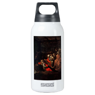 Adoration of the Shepherds by Caravaggio (1609) Thermos Bottle