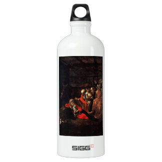 Adoration of the Shepherds by Caravaggio (1609) Water Bottle