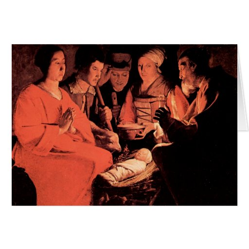 Adoration of the Shepherds by Georges de La Tour Greeting Cards