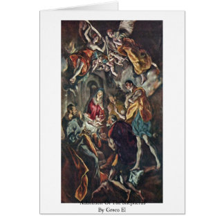 Adoration Of The Shepherds By Greco El Greeting Card