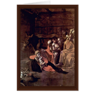 Adoration Of The Shepherds By Michelangelo Merisi Greeting Card
