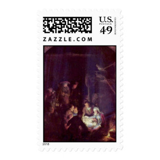 Adoration Of The Shepherds By Rembrandt Harmensz. Stamp