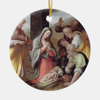 Adoration of the Shepherds, c.1500 (tempera on pan Ornaments