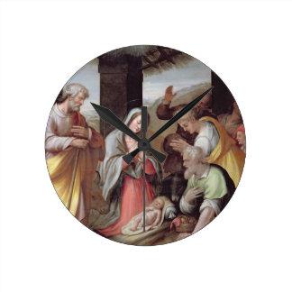 Adoration of the Shepherds, c.1500 (tempera on pan Round Clock