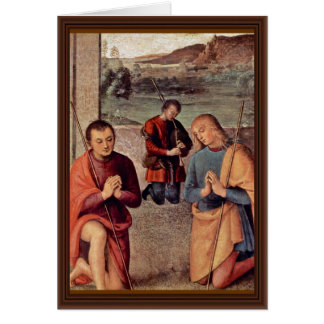 Adoration Of The Shepherds Detail By Perugino Greeting Cards
