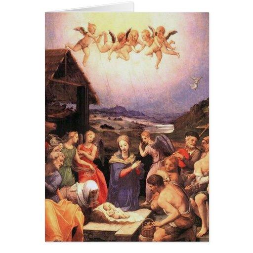 Adoration - Shepherds and angels - Bronzino Stationery Note Card