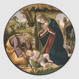 Adoration with Joseph, Mary and Baby Jesus Classic Round Sticker