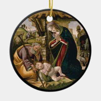 Adoration with Joseph, Mary and Baby Jesus Double-Sided Ceramic Round Christmas Ornament