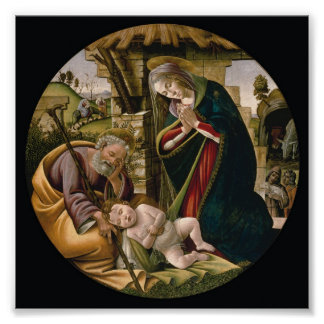 Adoration with Joseph, Mary and Baby Jesus Poster