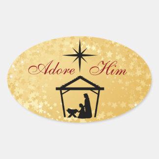 Adore Him - Nativity Scene Christmas Stickers