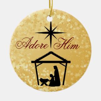 Adore Him - Nativity Scene Ornament