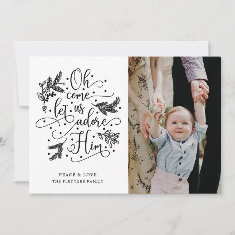 Adore Him | Photo Christmas Flat Card | Black