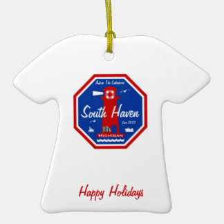 Adore The Lakeshore South Haven, MI Double-Sided T-Shirt Ceramic Christmas Ornament
