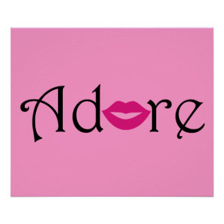 Adore with a Kiss in Black & Fuschia Poster