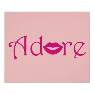 Adore with a Kiss in Fuschia Poster