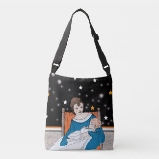Adoring Mother Holding Baby in Orange Chair Stars Crossbody Bag