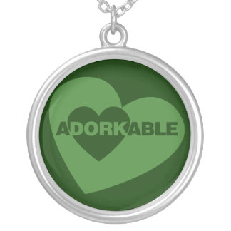 Adorkable funny humor round pendant necklace