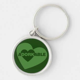 Adorkable funny humor Silver-Colored round keychain
