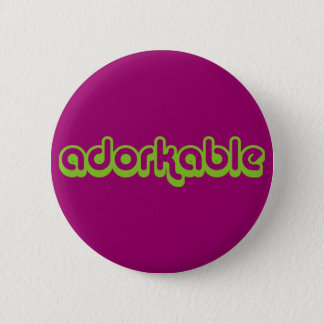 Adorkable (green) pinback button