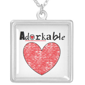 adorkable heart neacklace square pendant necklace