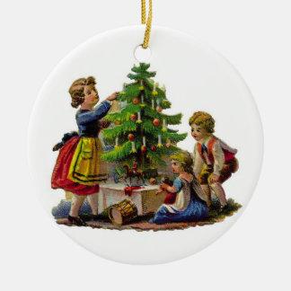 Adornamiento del árbol adorno navideño redondo de cerámica