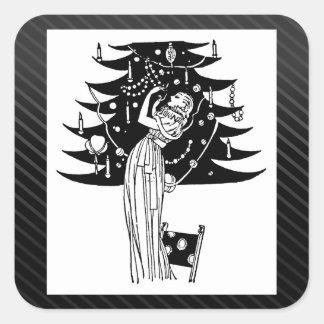Adornamiento del árbol en blanco y negro calcomanía cuadrada