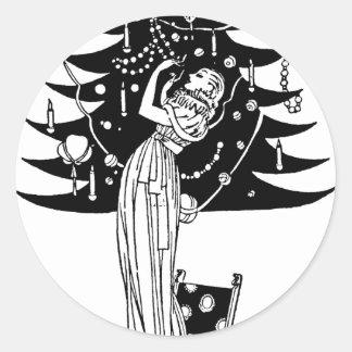 Adornamiento del árbol en blanco y negro etiquetas redondas