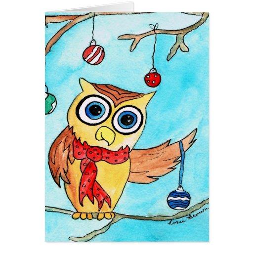Adornamiento del búho del navidad tarjeta de felicitación
