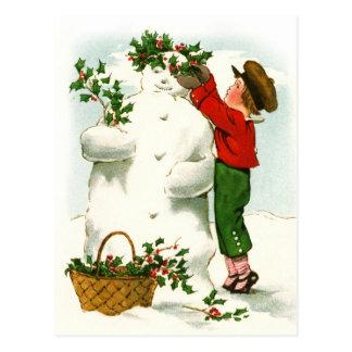Adornamiento del muñeco de nieve postal