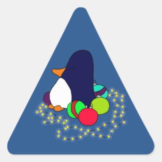 Adornamiento del pingüino pegatina triangular