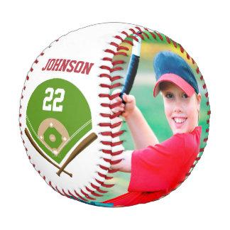 Adorne el béisbol con nombre y número de la foto