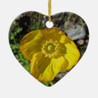 Adornment heart yellow flower ceramic ornament