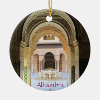 Adornment, Patio of the From Leon one, Alhambra, G Double-Sided Ceramic Round Christmas Ornament