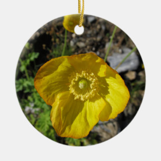 Adornment yellow flower ceramic ornament