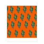 Adorno anaranjado y verde postales
