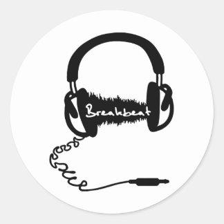 Adorno audio de la onda de los auriculares de los etiqueta redonda