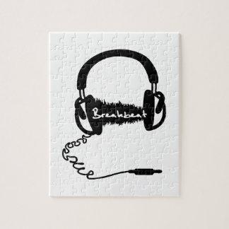 Adorno audio de la onda de los auriculares de los  rompecabeza con fotos