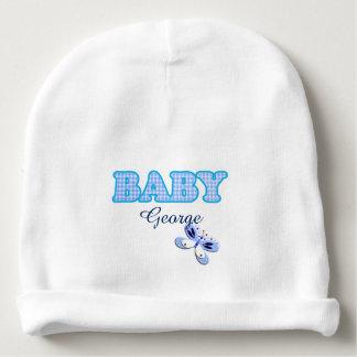 Adorno azul del bebé de la mariposa de la guinga gorrito para bebe