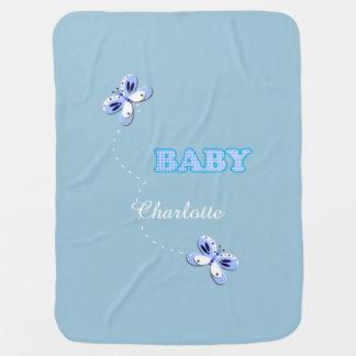 Adorno azul del bebé de la mariposa de la guinga mantita para bebé