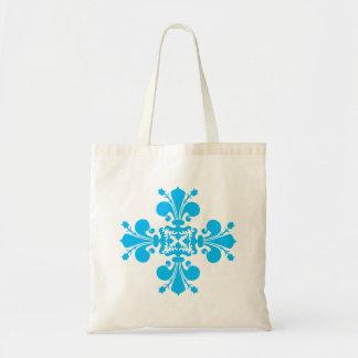 Adorno azul del damasco de la flor de lis bolsa tela barata