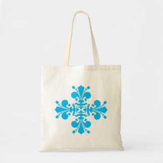 Adorno azul del damasco de la flor de lis bolsas