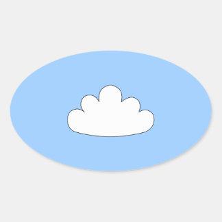 Adorno blanco de la nube. En azul Pegatina Ovalada