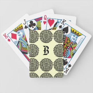 Adorno chino con monograma baraja cartas de poker