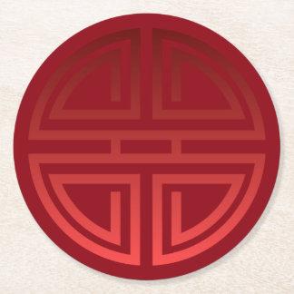 Adorno chino rojo elegante festivo elegante de la posavasos desechable redondo