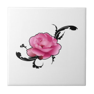 Adorno color de rosa azulejo ceramica