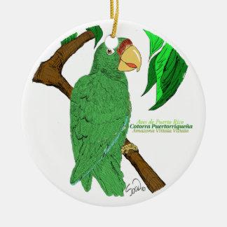 Adorno Cotorra de Puerto Rico Ceramic Ornament