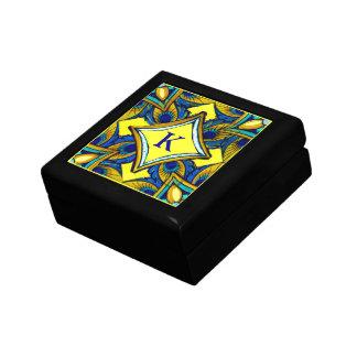 Adorno de la cerámica azul y amarillo joyero cuadrado pequeño